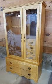 Wooden Gun Cabinet With Etched Glass by For Sale