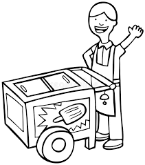 Download Ice Cream Cart Black And White Stock Vector Illustration of vendor popsicles