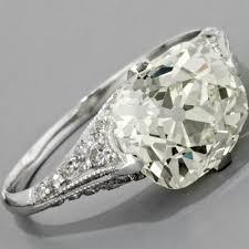 Cushion Cut Diamond Engagement Ring Antique Edwardian Style Platinum