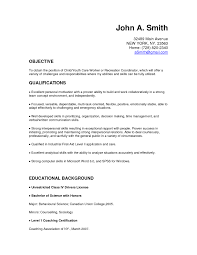 Child Care Resume Objective Examples Skills Cover Letter For