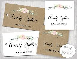 Rustic Name Card Template Flowers Blush Pink Place Cards DIY Escort Printable Kraft Favor Tags YOU EDIT Download