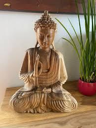 deko figur 30x40cm buddha massivholz