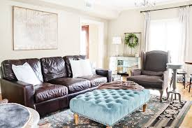 Charming Rustic Chic Living Room And Industrial Blue Decorative Table Dark Brown Leather Sofa Grey Armchair