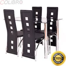 Amazon.com - COLIBROX--5 Piece Dining Set Glass Table And 4 Chairs ... Argos Home Lido Glass Ding Table 4 Chairs Black Winsome Wood Groveland Square With 5piece Ktaxon 5 Piece Set4 Chairsglass Breakfast Fniture Crown Mark Etta And Bench 22256p Hesperia Casual Drop Leaves Storage Drawer By Coaster At Value City Braden Set Includes Morris Furnishings Tall Ding Table Chairs Height Canterbury Ekedalen Dark Brown Orrsta Light Gray Cascade Round Kincaid Becker World Costway Metal Kitchen