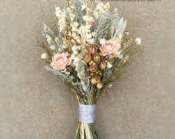 Peach Dried Flower Wedding Bouquet