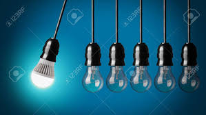perpetual motion with led bulb and simple light bulbs stock photo