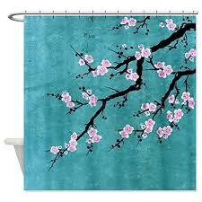 Japanese Cherry Blossom Bathroom Set by Pretty Cherry Blossom Shower Curtain Teal Background Cherry