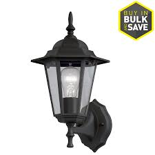 shop portfolio 14 in h sand black outdoor wall light at lowes