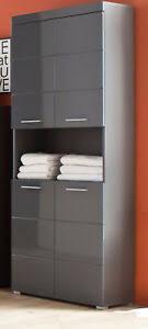details zu hochschrank hochglanz grau badezimmer bad schrank 4 türig 80 cm badmöbel amanda