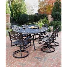 Home Styles Biscayne Black 7-Piece Swivel Patio Dining Set 42 Black Metal Outdoor Fniture Ding Phi Villa 300lbs Wrought Iron Patio Bistro Chairs With Armrest For Genbackyard 2 Pack Wrought Iron Garden Fniture Mainstays 3piece Set Gorgeous Patio Design Using Black Chair And Round Table With Curving Legs Also Fabric Arlington House Chair Commercial Sams Club 2498 Slat At Home Lck Table2 Chairs Outdoor Gray Mesh Back