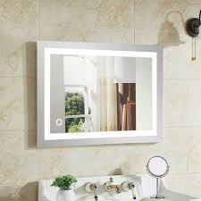 led beleuchtete wandhalterung spiegel rechteckig mit touch taste kosmetikspiegel home living badezimmer dekor fr wish