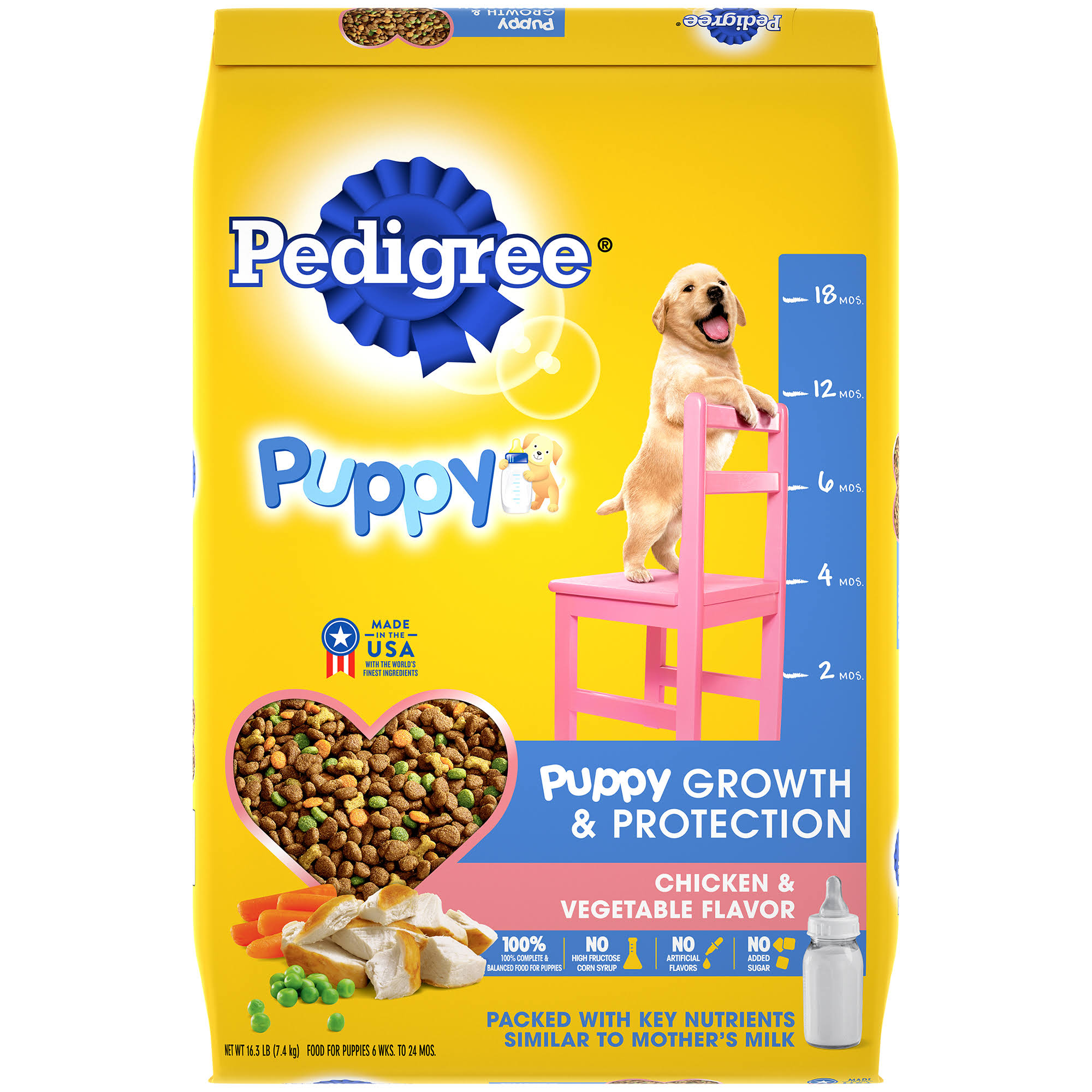 Pedigree Puppy Growth and Protection Chicken and Vegetable Flavor Dry Dog Food - 16.3lbs