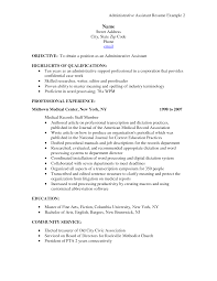 Resume Job Description For Administrative Assistant Doc Sample Executive Example Medical Office
