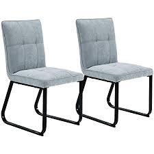 homexperts esszimmer stuhl 2 er set tilda gepolsterte stühle vintage stoff bezug hell grau metall gestell in schwarz polster stühle