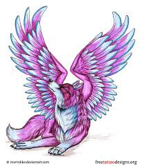 Purple Wolf With Wings