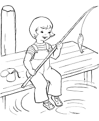 Happy Girl Fishing Summer Coloring Pages