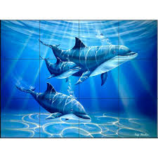 the tile mural store dolphin journey 17 in x 12 3 4 in ceramic
