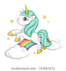 Cute Magical Unicorn And Rainbow Vector Design Isolated On White Background Print For T