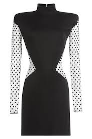 balmain dress with polka dot tulle black in black lyst