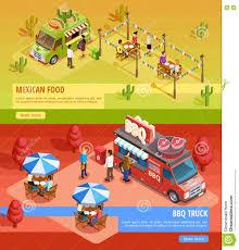 Food Trucks 2 Horizontal Isometric Banners Stock Vector ...
