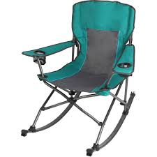 Ozark Trail Quad Fold Rocking Camp Chair With Cup Holders, Green -  Walmart.com
