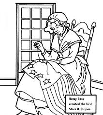 Betsy Ross Created American Flag For Independence Day Coloring Pages