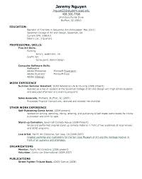 College Resume Samples A High School Out Of Fresh