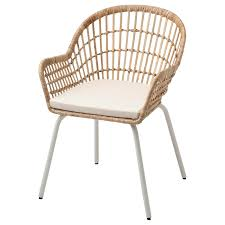 nilsove norna stuhl mit kissen rattan weiß laila natur