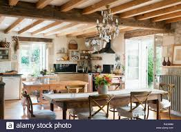 100 Rustic Ceiling Beams Style Kitchen With French Wooden Dining Table