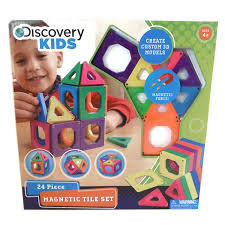 Magna Tiles Amazon Uk by Discovery Kids Magnetic Tile Set 24 Piece Set Multi Colored