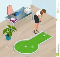 mini golf de bureau femme d affaires jouant le mini golf dans bureau perfectionnez