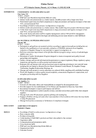 Download Supplier Specialist Resume Sample As Image File