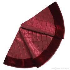 XSem Handcraft Pintuck Faux Silk With Velvet Border Christmas Tree Skirt 50 Wine 36 Inch