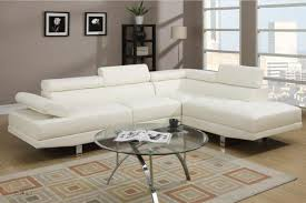 Sale Hollywood White Faux Leather Adjustable Sectional Sofa With Right Facing Chaise By Urban Cali