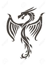 Dragon Tattoo White Background Vector Illustration Chinese For The