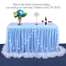 LED Baby Blue Tulle Table Skirt Tutu Table Cloth Skirting For Rectangle Or Round Table For Baby Shower Wedding And Birthday Winter Party Decoration14