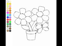 Flower Pot Coloring Pages For Kids