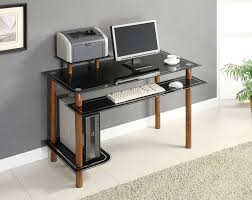 Tempered Glass Computer Desk by Furniture Simple Wite Modern Glass Computer Desk With Storages