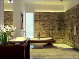 Bathroom Awesome Modern Rustic Bathrooms Design Ideas With White Brick Stone Wall Theme And Bathub Also