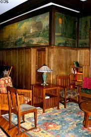Murals Arts & Crafts style furniture in lobby of Roycroft Inn