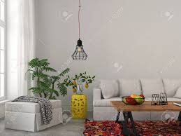 modernes wohnzimmer mit weißen möbeln holztisch und modern kronleuchter
