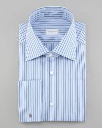ermenegildo zegna striped dress shirt blue in blue for men lyst