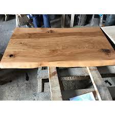 eiche rustikal spezial wurmstichig massivholz tischplatte 100x40x4 5cm einseitig baumkante