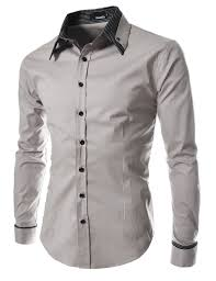 st29 thelees mens long double collar cuff slim dress shirts at