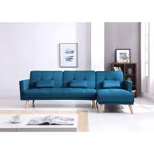 canape d angle bleu scandinave canapé d angle réversible convertible bleu style nordique