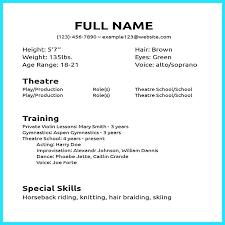 Acting Resume Examples For Beginners Beginner Actor Sample