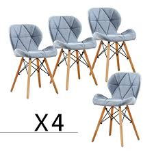 Set Of 4 Fabric Dining Chairs Elegant Tufted Pattern Armrest Office ...