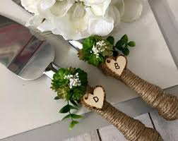 Succulent Wedding Cake Knife Server SetWedding DecorationRustic Cutting Set
