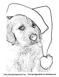 Coloring Pages Christmas Puppy Printable Free