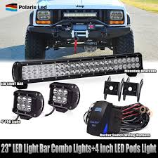 23Inch 144W LED Light Bar Combo +4'' Pods Offroad Jeep Truck Boat ... 4x Offroad 4inch 18w Led Light Bar Pods 4wd Truck Jeep Flood Bumper Amazoncom Led Bars 18w 9v30v Cree Driving Lights Best Led Light Bars For Truck Dualrow 300w 52inch Spot Car Boat 30in Singlerow Hidden Mounting Brackets 20 Inch 100w Spotflood Combo 8560 Lumens Cree How To Install An Bar On The Roof Of My Better Dot Approved 40 42in 240w On Trucks Common Installation Issues Questions Chevrolet Silverado Stealth Torch Series 1 30 Top Ubox Tailgate Strip Waterproof 60 Yellowredwhite